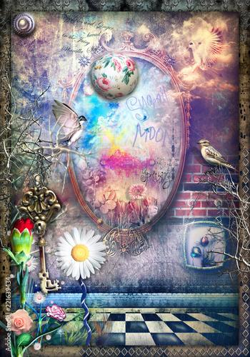 Staande foto Imagination Sfondo mistico e surreale con specchio magico e stregato