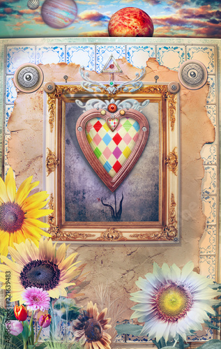 Fotobehang Imagination Fairytales window with flowers and magic heart