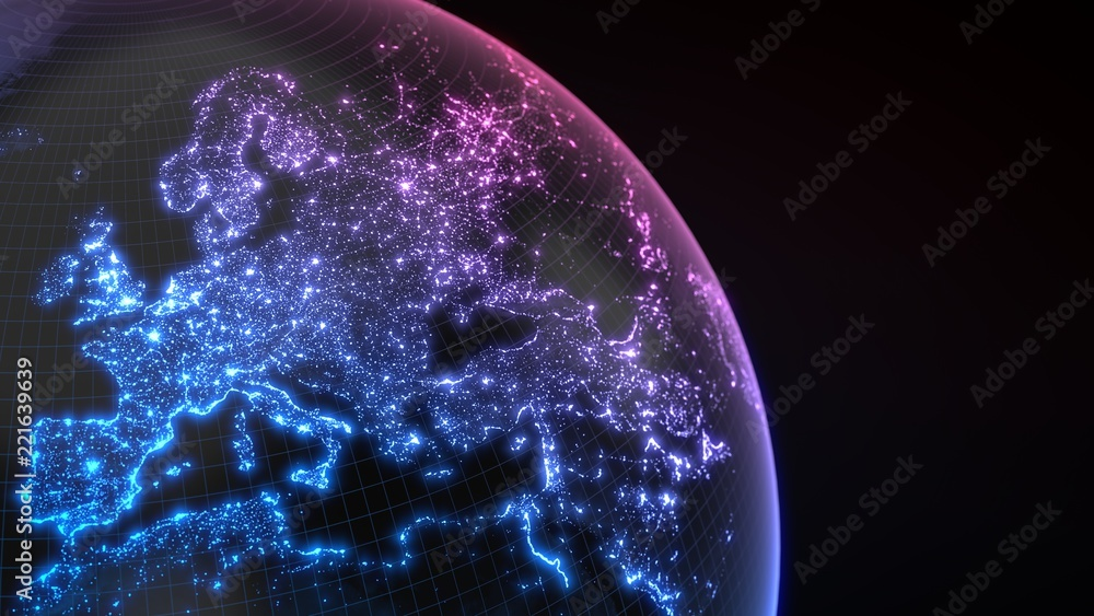 Fototapety, obrazy: dark earth globe with glowing details of city and human population density areas. 3d illustration