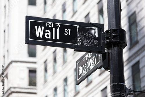 Tuinposter New York City Wall St. street sign in lower Manhattan, New York City, USA.