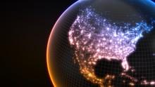 Dark Earth Globe With Glowing ...