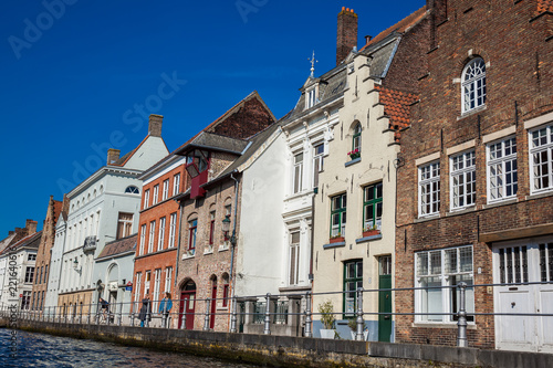 Deurstickers Brugge Canals of the historical and beautiful Bruges town in Belgium