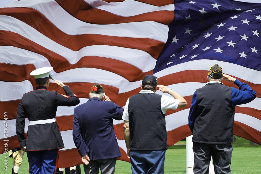 Fototapeta Soldier and Veterans Saluting at Memorial Day Ceremony