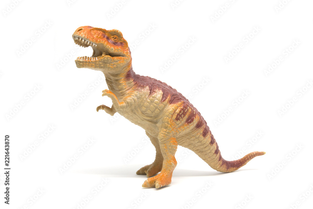 Plastic Tyrannosaurus toy isolated on white background