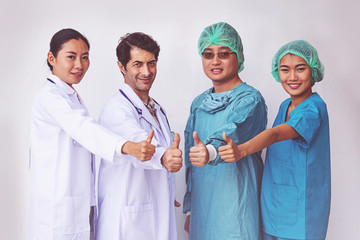 Doctors and Nurses coordinate hands.doctors thumb up, Concept Teamwork