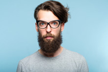 Bearded Hipster Guy Wearing Ca...