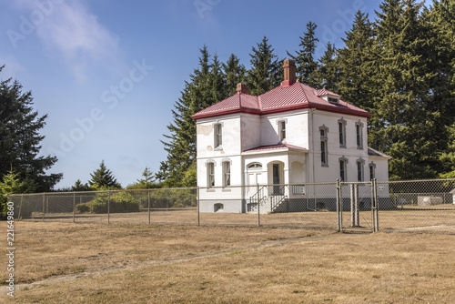 Fotografie, Obraz  Cape Disappointment landmark buildings Washington state.
