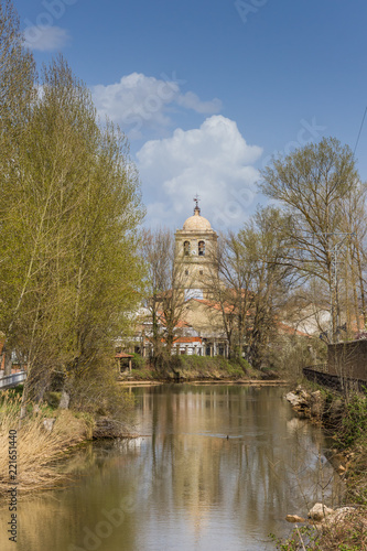 фотография  River leading to the church of Aguilar de Campoo, Spain