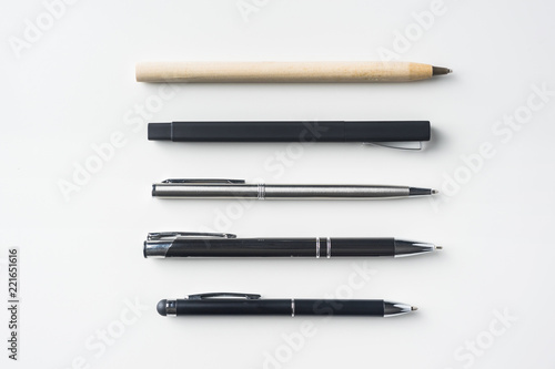 Photo  collection of pens on white background