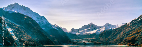 Staande foto Centraal-Amerika Landen Alaska Cruise Glacier Bay travel landscape view from ship at Johns Hopkins Glacier in Alaska, united states USA. Panoramic banner.