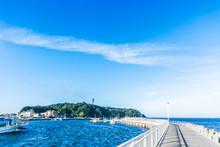 Enoshima Island Under Blue Sky In Kamakura, Japan.