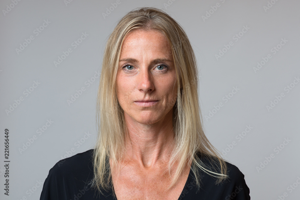 Fototapety, obrazy: Attractive calm blond woman with a quiet smile