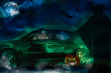 Halloween Ghosts Driving A New Car