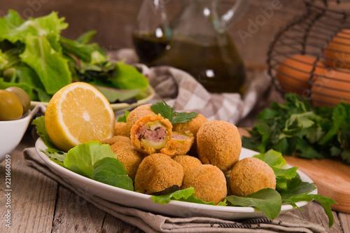 Spoed Foto op Canvas Buffet, Bar Ascoli stuffed olives.