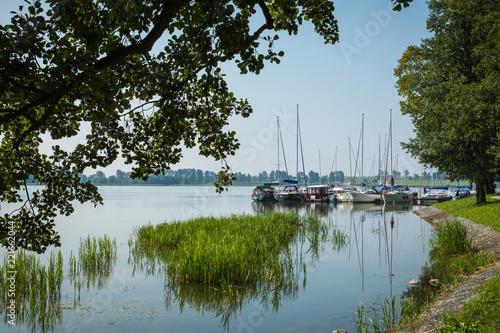 Marina and pier on Rynskie lake, town of Ryn.