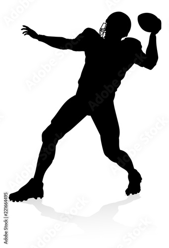 Detailed American Football player sports silhouette Canvas Print