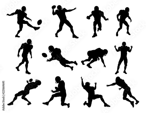 Photo  A set of detailed silhouette American Football players in lots of different pose