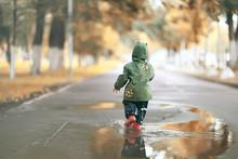 Sad Child Puddles Rain