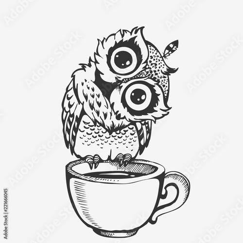 Keuken foto achterwand Uilen cartoon Cute owl cartoon character line sketch