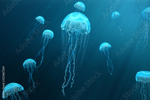Fotografia, Obraz 3D illustration background of jellyfish