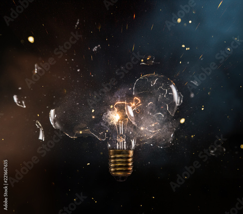 Real explosion of vintage electric bulb. Fototapeta