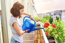Happy Young Asian Woman Housewife Watering Flowers On Balcony