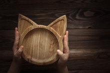 Wooden Plate Form Cat Concept Handmade Baby Dishes