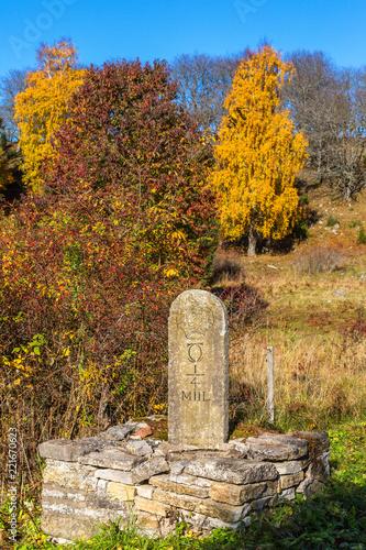 Foto  Milestone by the roadside in an autumn landscape