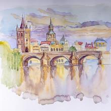 Drawing, Watercolor. Czech Republic, Charles Bridge