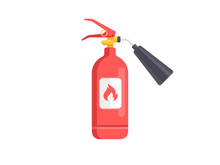 Fire Extinguisher Icon Isolated On White. Flat Design Vector Illustration