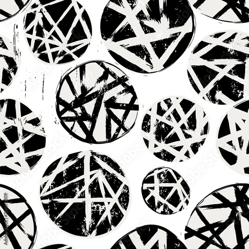 seamless geometric background pattern, with circles, paint strokes and splashes, black and white