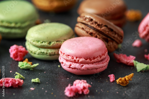 Poster Dessert Sweet colorful macarons dessert, almond cake, cookies. selected focus.
