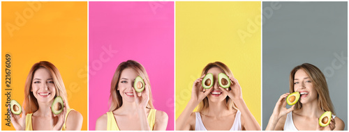 Set with beautiful young woman and cut avocados on color background