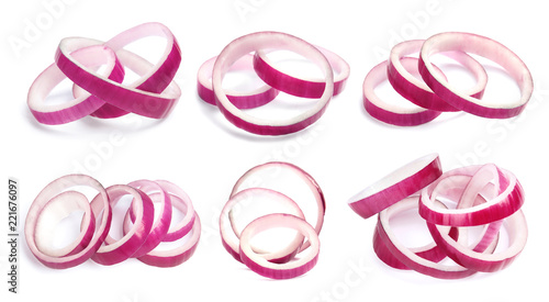 Set with cut fresh red onion on white background