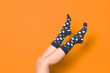Woman Wearing Bright Socks On ...