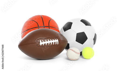 Photo Different sport balls on white background