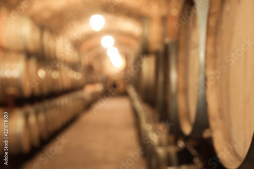 Blurred view of wine cellar with large wooden barrels Canvas Print