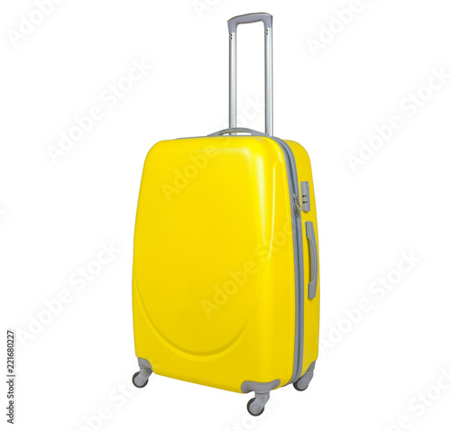 Carta da parati Yellow suitcase isolated on white background