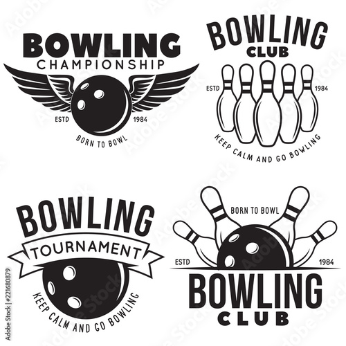 Obraz na plátně Set of vector vintage monochrome style bowling logo, icons and symbol