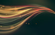 canvas print picture - glowing wavy lines