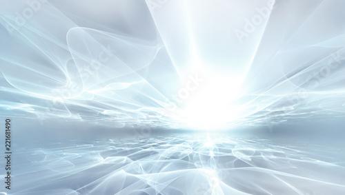 In de dag Fractal waves white futuristic background