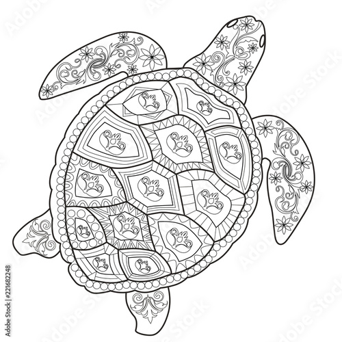 Color Therapy: An Anti-Stress Coloring Book Sea Turtle. - Buy This Stock  Vector And Explore Similar Vectors At Adobe Stock Adobe Stock