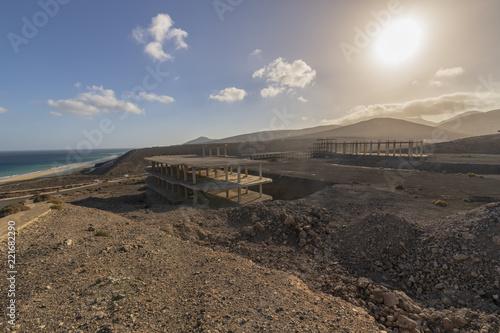 Deurstickers Canarische Eilanden Exterior Of An Unfinished Building overlooking the ocean in Fuerteventura, Canary Islands, Spain