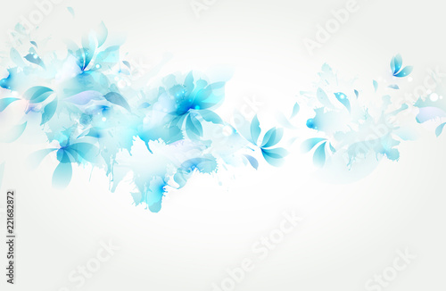 Carta da parati  Tender background with blue abstract flower