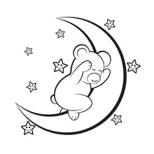 Cute Baby Bear Sleeping On Crescent Isolated On White Background Vector Drawing