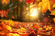 Leinwandbild Motiv Stimmungsvolle Szene im Herbst mit fallenden Blättern und untergehender Sonne