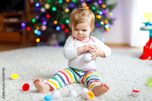 Adorable Cute Beautiful Little Baby Girl Playing With Educational