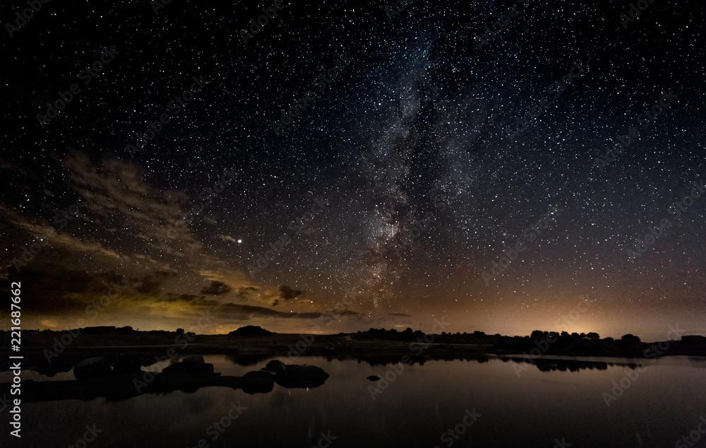 Fototapeta Night photography with Milky Way in Natural Area of Barruecos. Extremadura. Spain.