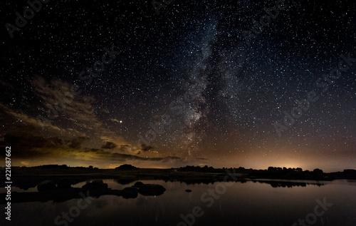 Fototapeta Night photography with Milky Way in Natural Area of Barruecos. Extremadura. Spain. obraz