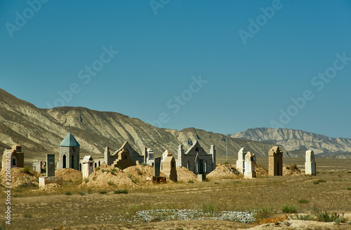 Spoed Foto op Canvas Asia land Naryn river valley, Ancient cemetery